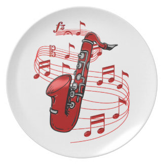 Red Sax With Music Notes Plate