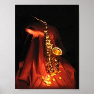 Red Saxophone Mini Poster