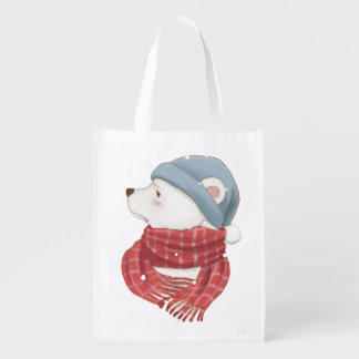 Red Scarf Polar Bear Hate the Cold Snowy Winter Reusable Grocery Bag
