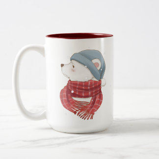 Red Scarf Polar Bear Hate the Cold Snowy Winter Two-Tone Coffee Mug
