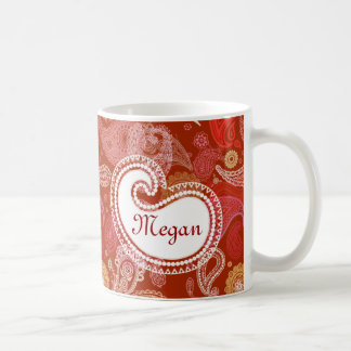 Red scarlet  paisley coffee mug