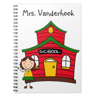 Red School House with Teacher Notebook