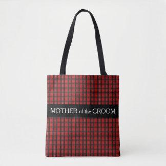 Red Scottish Tartan pattern Mother Groom Wedding Tote Bag
