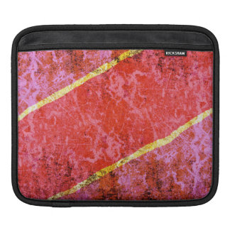 Red scratched background with yellow stripes iPad sleeve