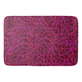 Red scribbled lines pattern bathroom mat