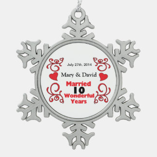 Red Scroll & Hearts Names & Date 10 Yr Anniversary Pewter Snowflake Ornament