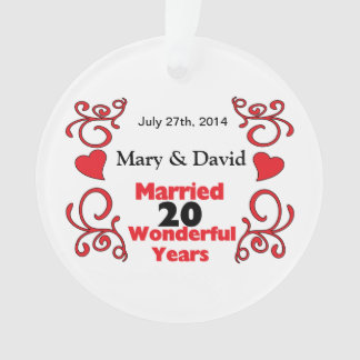 Red Scroll & Hearts Names & Date 20 Yr Anniversary Ornament