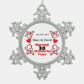 Red Scroll & Hearts Names & Date 30 Yr Anniversary Snowflake Pewter Christmas Ornament