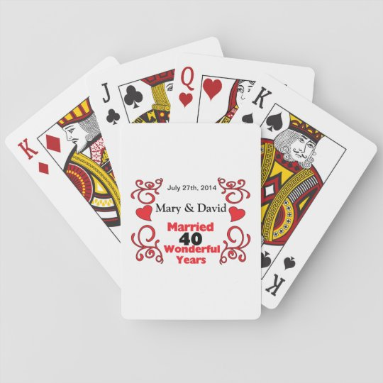 Red Scroll & Hearts Names & Date 40 Yr Anniversary Poker Deck
