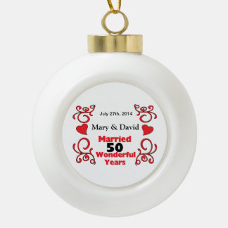 Red Scroll & Hearts Names & Date 50 Yr Anniversary Ceramic Ball Ornament