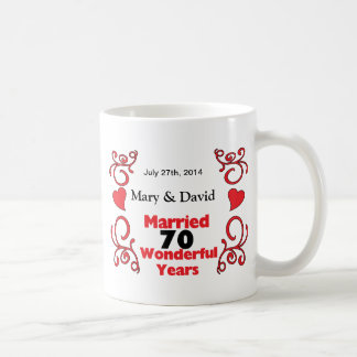Red Scroll & Hearts Names & Date 70 Yr Anniversary Coffee Mug