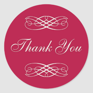 Red Scroll Thank You Classic Round Sticker