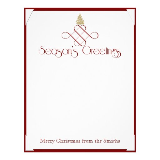 Red Scroll with Small Gold Christmas Tree Custom Letterhead