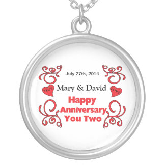 Red Scrolls & Heart Names & Date Happy Anniversary Round Pendant Necklace