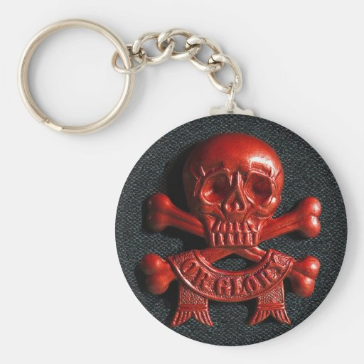 Red scull and cross bones key chain