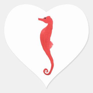 Red Sea Horse Heart Sticker