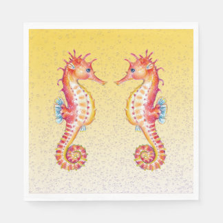 red seahorse yellow paper napkin