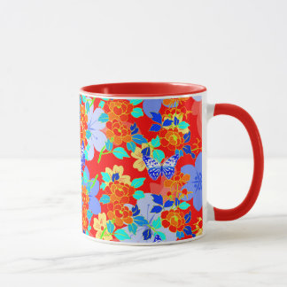 Red Seamless Pattern Vector Retro Mug