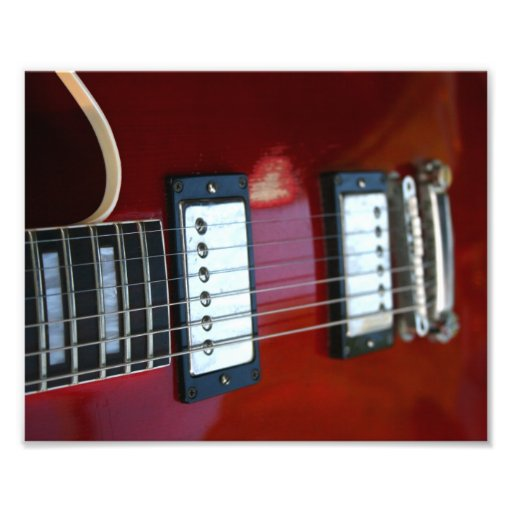 Red semi hollow guitar picture of strings, pickups art photo