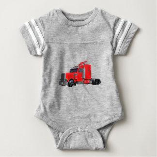 Red Semi Tracter Trailer Baby Bodysuit