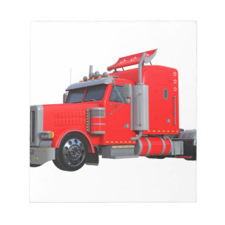 Red Semi Tracter Trailer Notepad