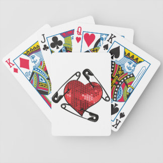 red sequins safety pin bicycle playing cards