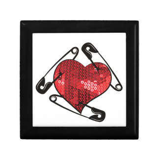 red sequins safety pin gift box