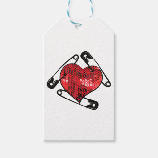 red sequins safety pin gift tags