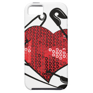 red sequins safety pin iPhone 5 case