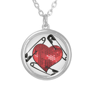 red sequins safety pin silver plated necklace