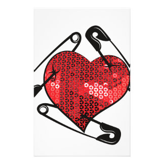red sequins safety pin stationery