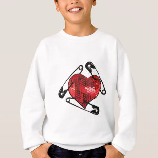 red sequins safety pin sweatshirt