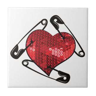 red sequins safety pin tile