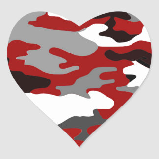 Red Shadows Camo Heart Sticker