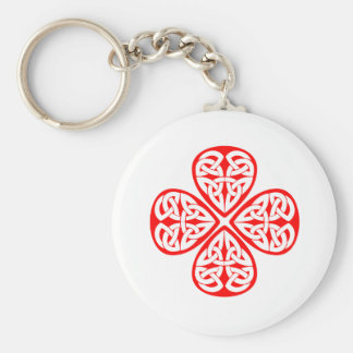 red shamrock celtic knot basic round button keychain