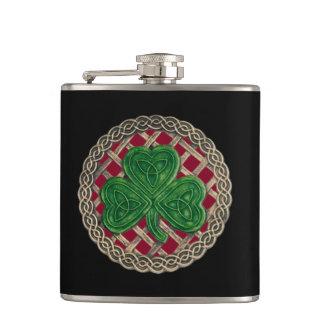 Red Shamrock On Celtic Knots Flask