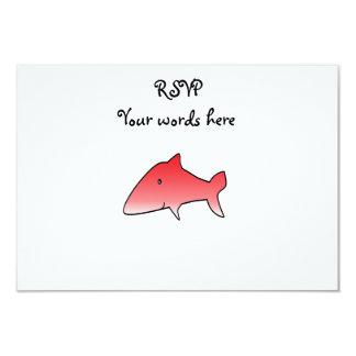 "Red shark 3.5"" x 5"" invitation card"