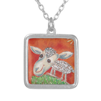 red sheep silver plated necklace