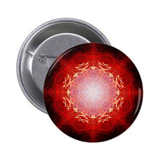 Red Shining Star Mandala 2 Inch Round Button