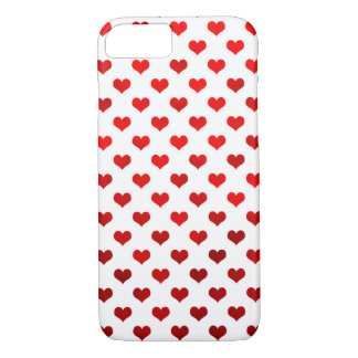 Red Shiny Hearts White Background Polka Dot iPhone 7 Case