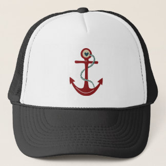 Red Ship Anchor with Heart Trucker Hat