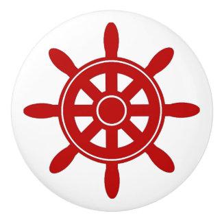 Red Ship Wheel  Nautical Themed Cabinet Knob