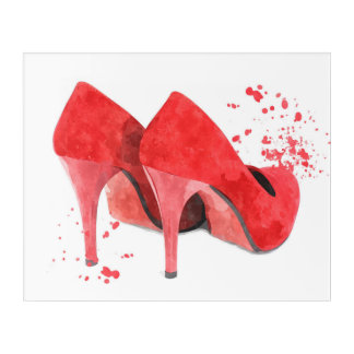 Red shoes glamour fashion trendy acrylic wall art