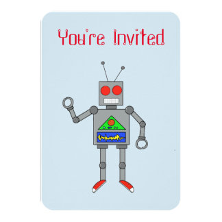 Red Shoes Robot Party Invitations