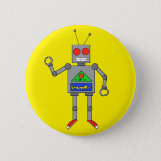 Red Shoes Robot Yellow Button Pin