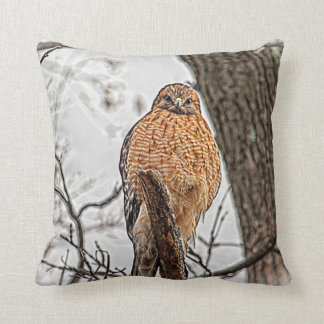 Red Shouldered Hawk in a tree Throw Pillow