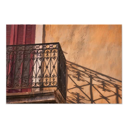 Red Shutter Iron Balcony on a French Village House Photograph