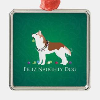 Red Siberian Husky Feliz Naughty Dog Christmas Metal Ornament