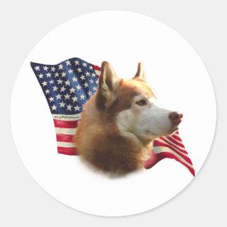 Red Siberian Husky Flag - Sticker