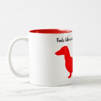 Red Silhouette Dachshund Mug